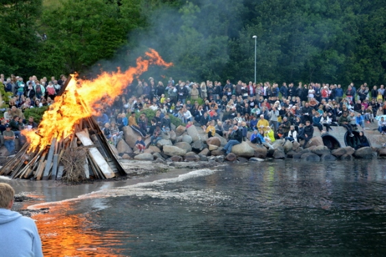 Danish midsummer night celebration, St John's eve with bonfires
